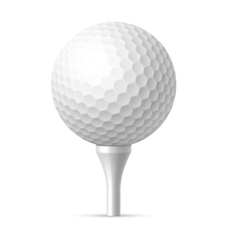 golf ball: Golf ball on white tee