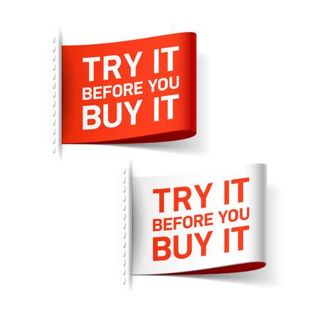 Probeer het voordat je het koopt label Stockfoto - 33049543