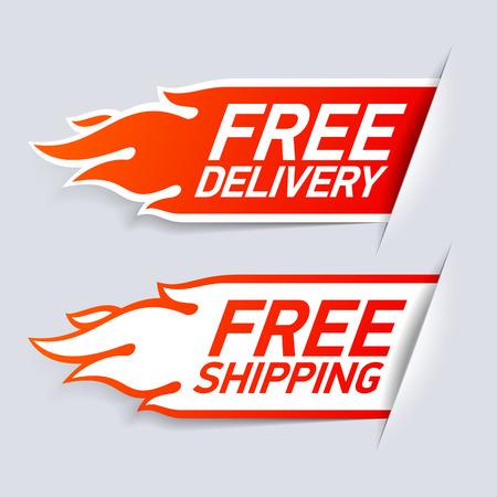 Swobodę dostarczania i etykiety wysyłki Ilustracje wektorowe