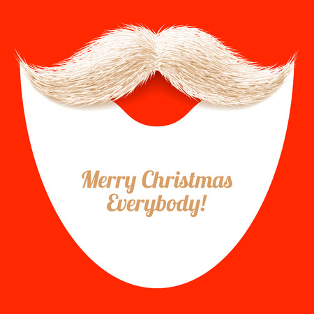 hair mask: Santa Claus beard and mustache, Merry Christmas greeting card
