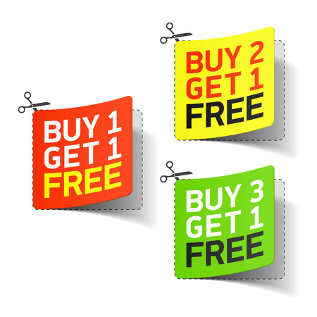 Buy 1 Get 1 Free promotional coupon Illustration