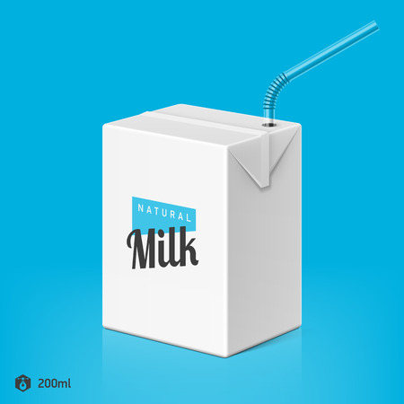 bendy straw: Milk or juice package with drinking straw template, 200ml