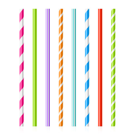 red straw: Colorful drinking straws Illustration