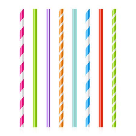 alimentos y bebidas: Pajitas de beber coloridos Vectores