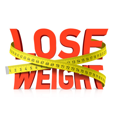 tape measure: Lose weight word with measuring tape concept