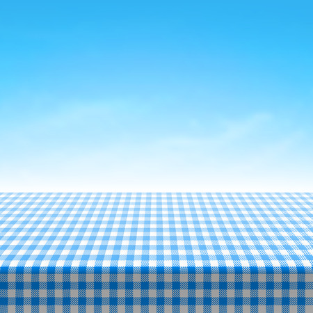 table surface: Empty picnic table covered with blue checkered tablecloth