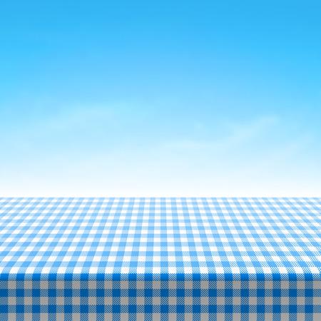 himmelsblå: Tom picknick bord täckt med blå rutig duk