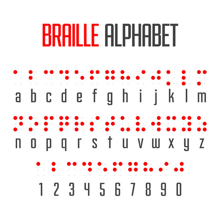 Braille alphabet and numbers Ilustrace