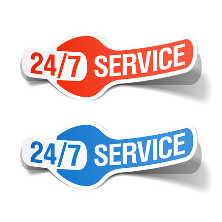 24 hours a day service sticker Vector