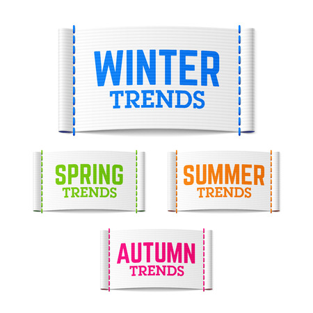 trends: Winter, spring, summer and autumn (fall) trends labels Illustration