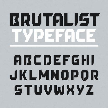 english alphabet: Brutalist typeface