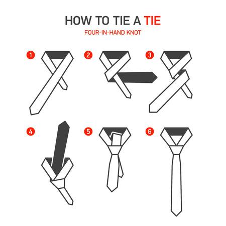 галстук: Как завязывать галстук инструкции, Four-in-Hand узел Иллюстрация