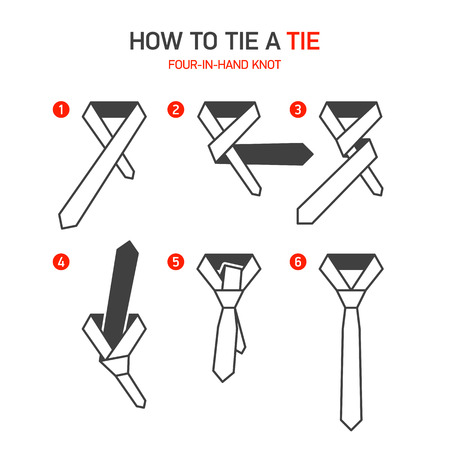 knots: How to tie a tie instructions, Four-In-Hand knot