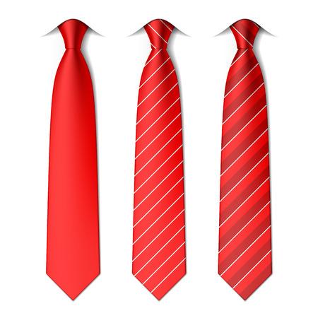 галстук: Красный простой и полосатые галстуки