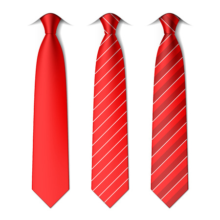 neck tie: Red plain and striped ties