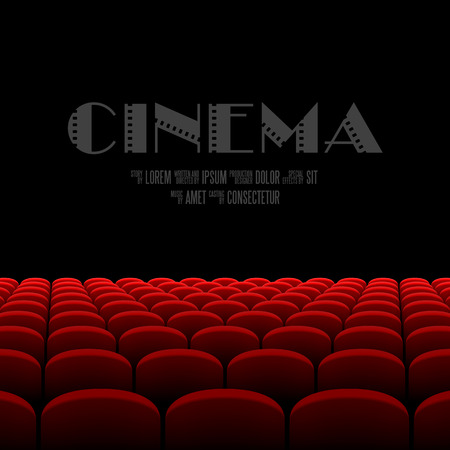 Cinema auditorium with black screen and red seats