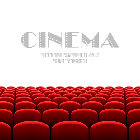 asiento: Auditorio del cine con pantalla en blanco y asientos rojos