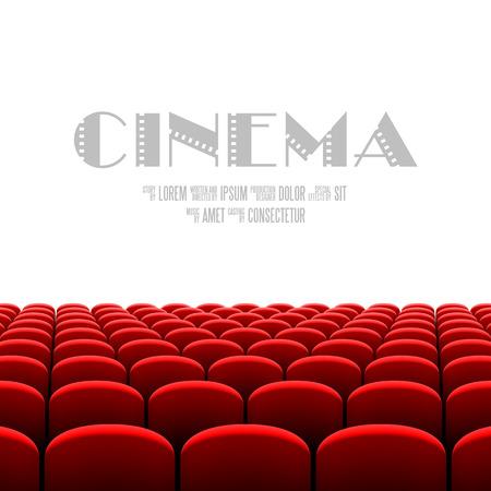 rot: Kinosaal mit weißer Bildschirm und roten Sitzen