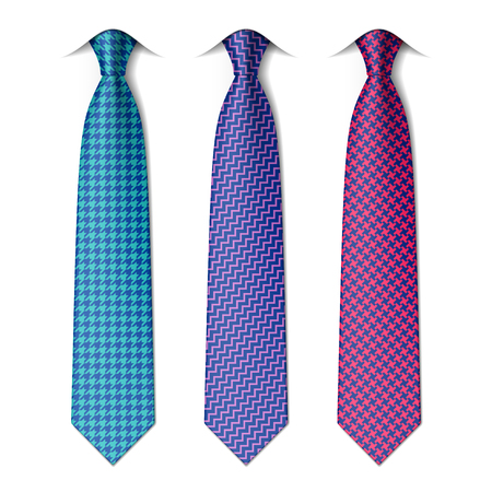 Houndstooth and zigzag patterns ties