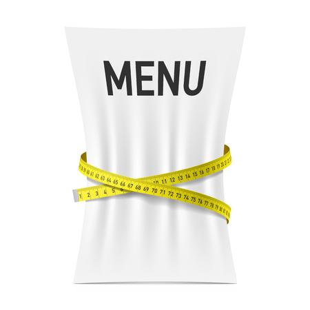 Menu ściśnięte przez miarką, dieta temat koncepcji