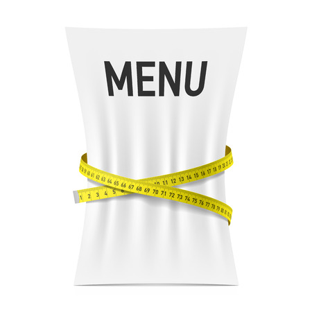 lose weight: Menu squeezed by measuring tape, diet theme concept