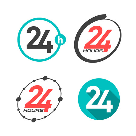 24 7: 24 hours a day icons