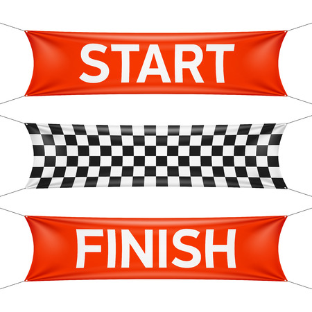 Starting and finishing lines, checkered banners Reklamní fotografie - 35940208