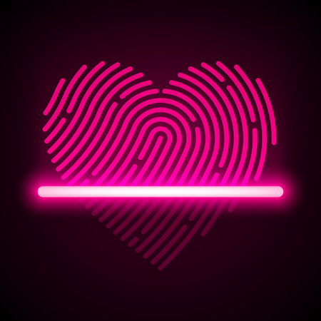 fingermark: Heart shaped fingerprint scanner concept Illustration