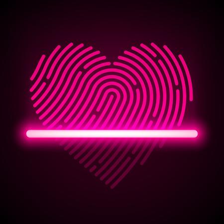odcisk kciuka: Skaner linii papilarnych w kształcie serca koncepcja