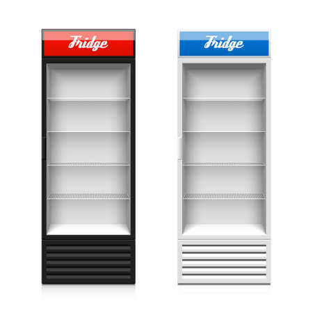 supermarkets: Upright glass door display fridge Illustration