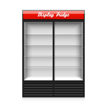Upright Doppelglasschiebetür Display Kühlschrank Illustration