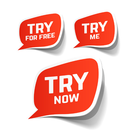 coupon: Try Now, Try For Free and Try Me speech bubbles Illustration