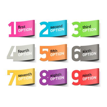 numero uno: Números de Opciones, elemento infografía Vectores
