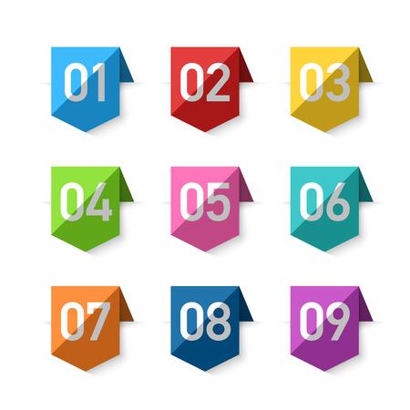 nombres: Numéros signets, élément de design Illustration