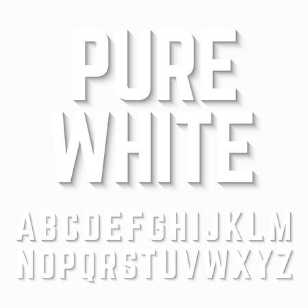 on white: Pure White alphabet shadow
