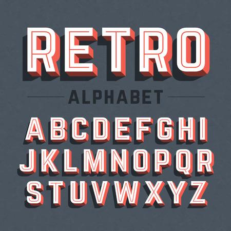レトロなスタイルの 3 d のアルファベット  イラスト・ベクター素材