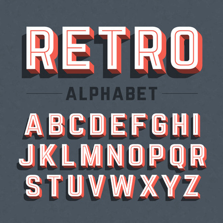 vintage objects: Retro style 3d alphabet