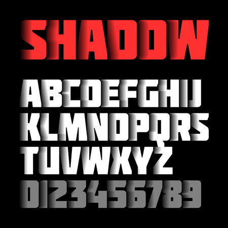 alphabetical letters: Shadow font, alphabet and numbers