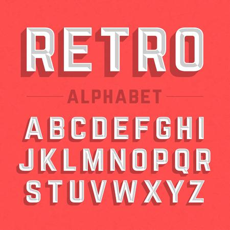 tipos de letras: Alfabeto estilo retro Vectores