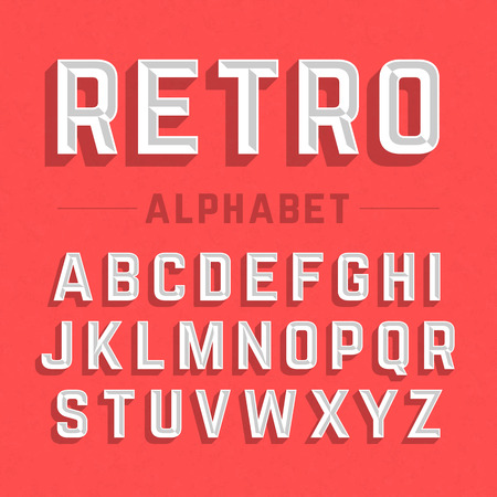 old letters: Retro style alphabet Illustration