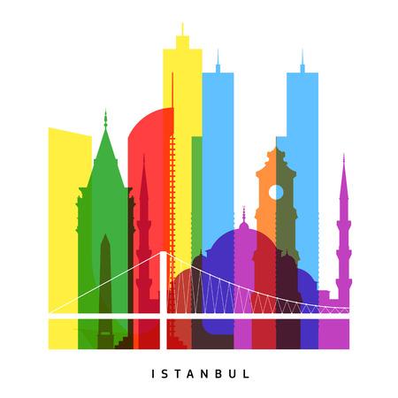 Istanbul landmarks bright collage