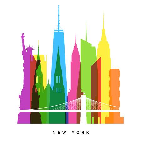 New York landmarks bright collage Vector