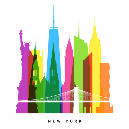silhouette america: New York landmarks bright collage