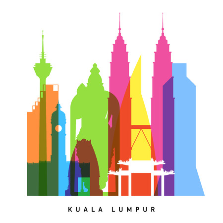 city background: Kuala Lumpur landmarks bright collage