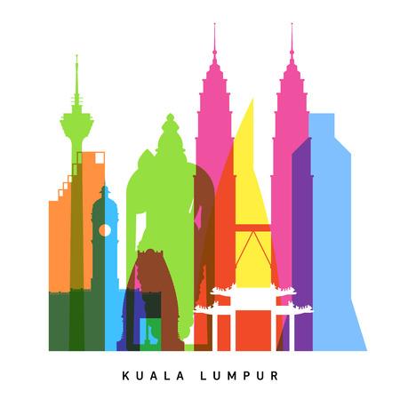 city: Kuala Lumpur Lugares de interés collage brillante Vectores