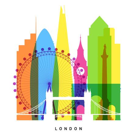 ロンドンのランドマーク明るいコラージュ  イラスト・ベクター素材
