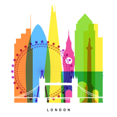 London landmarks bright collage Stock Vector - 38622065