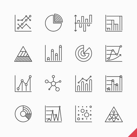 ESTADISTICAS: Thin elementos iconos infográficas mercado de datos de negocios lineales fijados Vectores