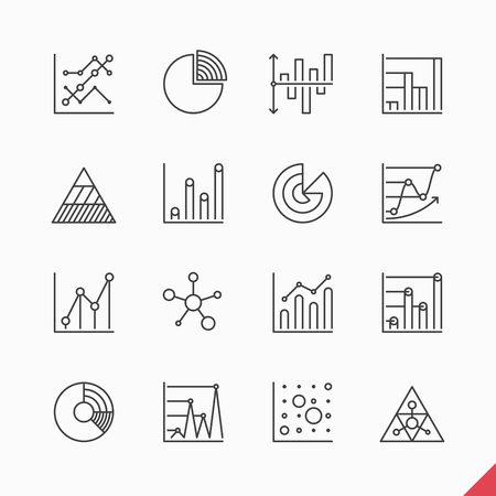 Thin linear business data market infographic elements icons set