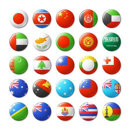 Wereld vlaggen ronde badges, magneten. Azië en Oceanië. Vector Illustratie